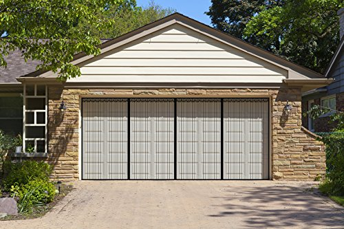 Liveinu Upgraded Magnetic Garage Door Screen 2 Car Screen Door for Single or Double Garage with Hook & Loop Install Magnetic Closure Anti Bug Insect Pest Screen Door 9 Ft x 8 Ft (W x H) Black