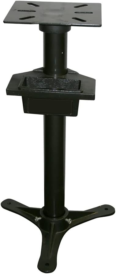 Offex Cast Iron 31 H Bench Grinder Stand with Adjustable 4 x 8 Drip Pan Black
