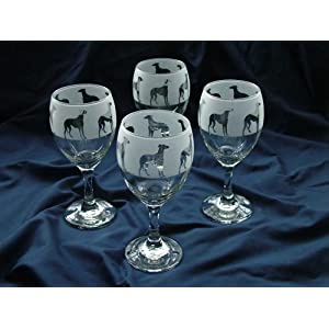 Greyhound gift dog wine glasses