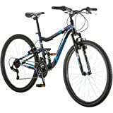 """27.5"""" Mongoose Ledge 2.1 Mens Bike for a Path, Trail & Mountains, Deep Navy, Aluminum Full Suspension Frame, Twist Shifters Through 21 Speeds"""