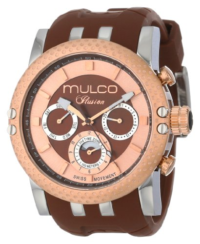 Mulco Womens Watch Lincoln Illusion Swiss Movement Chronograph 47mm Case, Brown and Rose Gold Dial with Brown Silicon Band