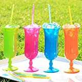 500 Pack - Sno-Cone Spoon Drinking Straws, Assorted Neon Colors Disposable Plastic Straw, 7-1/4""
