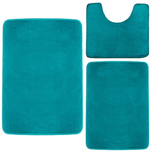 Clara Clark Memory Foam Bath Mat, Ultra Soft Non Slip and Absorbent Bathroom Rug. - Teal, Set of 3 - Small/Large/Contour (Turquoise And Green Rug)