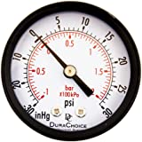 "DuraChoice 2"" Dial Utility Vacuum Pressure Gauge for Air Compressor Water Oil Gas, 1/4"" NPT Center Back Mount, Black Steel Case, -30HG/30PSI"