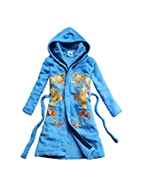 Chinese dragon embroidered bathrobe Boy's nightgown Coral velvetl home robe