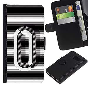 Paccase / Billetera de Cuero Caso del tirón Titular de la tarjeta Carcasa Funda para - 0 Lines Black White O Zero Nothing - Samsung Galaxy S6 SM-G920