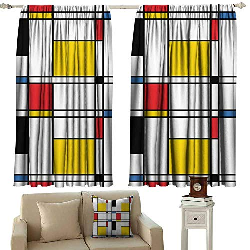 (curtains for livingroom/bedroom,Abstract Home Decor Collection Geometric Colorful Pattern and Crossover Decorative Rectangle Frame Window Art,Great for Living Rooms & Bedrooms,W72x45L Inches,Red Blac)