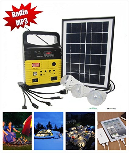 Power Charging System (10-Watt Solar Generator Portable kit,Power Inverter,Solar Generator System for Home & Camping,9000mAh Rechargeable Battery Pack UPS Power Supply, Included 6 Watt Solar Panels (YellowWo))