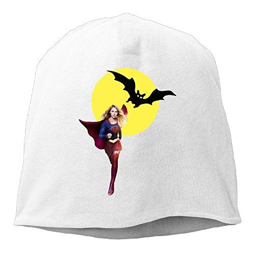 Halloween Supergirl Beanie Hat Skull Cap White (Supergirl Halloween)