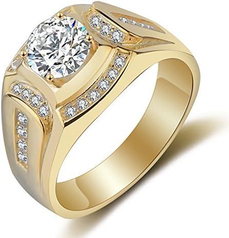 TOOGOO Anillo Chapado en Oro de 18 Quilates Anillo de los Hombres de Diamante de Zirconia cubica Compromiso de la Boda de los Hombres(EE.UU.8)