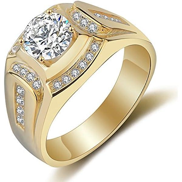 TOOGOO Anillo Chapado en Oro de 18 Quilates Anillo de los Hombres de Diamante de Zirconia cubica Compromiso de la Boda de los Hombres(EE.UU.10): Amazon.es: Joyería