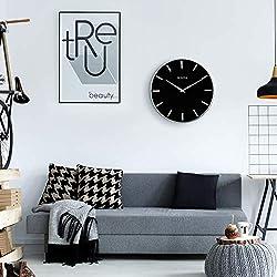 Bulova C4849 Metro Wall Clock, Satin Pewter Finish/Matte Black