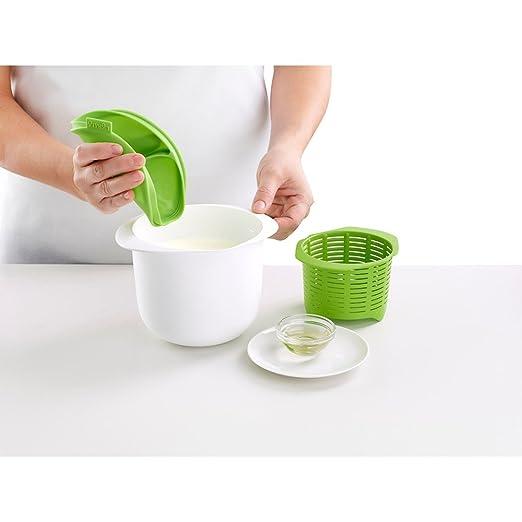 Lékué - Recipiente para hacer queso fresco + Exprimidor y conservador de limones, silicona, 2 unidades, color verde: Amazon.es: Hogar
