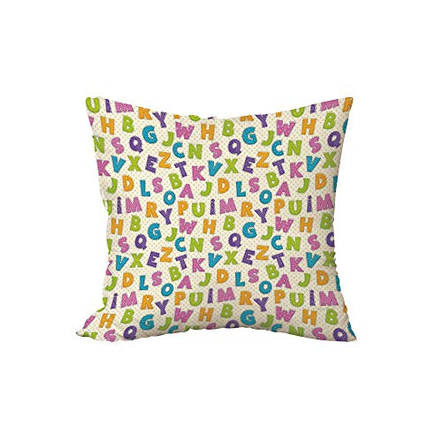 Polyester Throw Pillow Cushion,Kids,Cute Funny Letters in Lively Colors Cartoon Style ABC Alphabet on Polka Dots Backdrop Decorative,Multicolor,17.7x17.7Inches,for Sofa Bedroom Car Decorate
