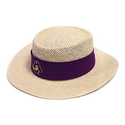 East Carolina Straw Pamama Hat with Purple Band and Pirate Head Logo ECU -