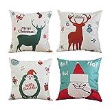 BLEUM CADE Pillow Covers Merry Christmas Series Throw Pillow Case Cotton-linen Santa Clau Christmas Deer Pillow Cover set of 4 Home Car Decorative Cushion Cover Square 18 X 18 Inch