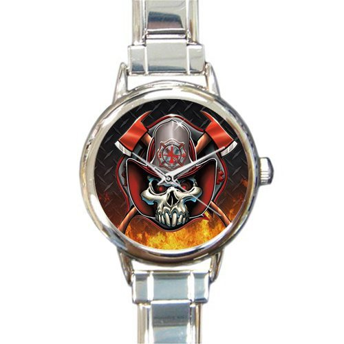 (Unique Christmas Gift Watch Skull Firefighter Emblem Round Italian Charm stainless steel Watch)