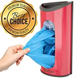Grocery Plastic Bag Holder And Dispenser | Wall Mount Red Kitchen Accessories | Stainless Steel Under The Sink Sack Organizer by BDITN
