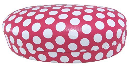 Evolution Eyes Hard Clamshell Sunglass and Eyeglass Polka Dot Case, Fits All Frames, Linen Pink