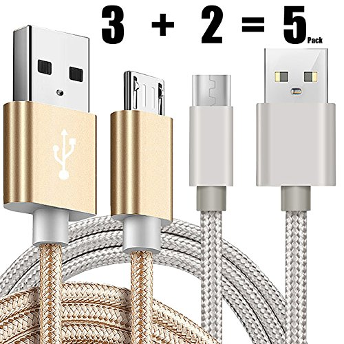 [5 pack] Kindle USB Cable A Male to Micro B 5FT iBarbe Sync and Quick Charging Cable Cord Durable Charging Cable For Use with all Kindle Tablets and e-readers