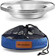 Stainless Steel Plate Set - 8.5 inch Ultra-Portable Dinnerware Set BPA Free Plates for Outdoor Camping | Hikin