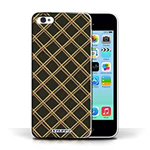 KOBALT? Protective Hard Back Phone Case / Cover for Apple iPhone 5C | Yellow/Black Design | Criss Cross Pattern Collection