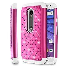Fosmon (HYBO-SD) Motorola Moto G 3rd Gen Case (Star Diamond) Dual Layer Hybrid Cover for Moto G (3rd Gen, 2015) - Fosmon Retail Packaging (Hot Pink/White)