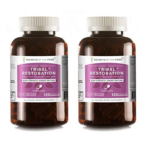 Secrets Of The Tribe – Tribal Restoration, Body Strength/Energy Restore, Herbal Supplement Blend (2×120 Capsules)