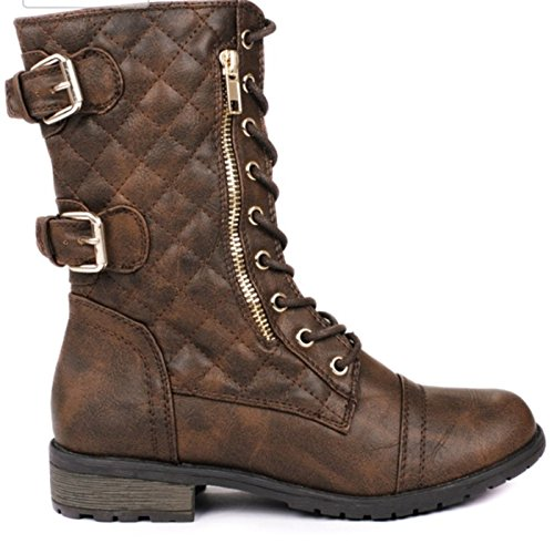 Zipper Leatherette (Forever Women's Mango Military Leatherette Dual Buckle Zipper Lace Up Mid Calf Boots (10, Brown))