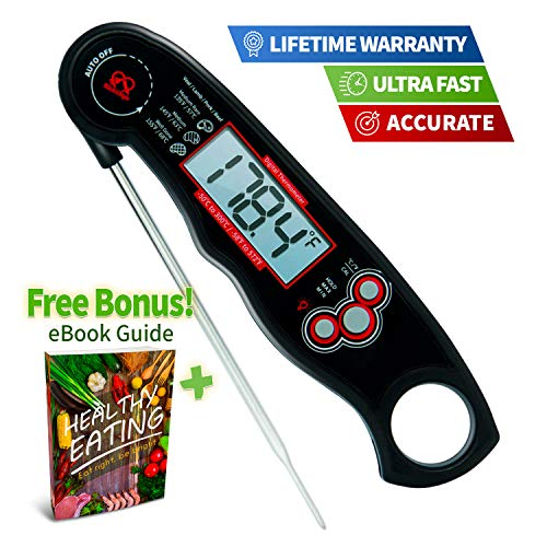 Digital Instant Read Meat Thermometer - Accurate Electric Food Prob Thermometer for Grilling, Baking, Cooking and Smoker - Waterproof and Super Fast with Backlight LCD for Your Kitchen - Extra Battery