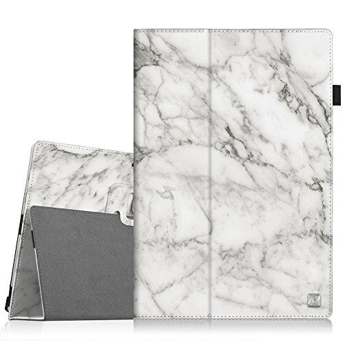 Fintie Surface Pro 6 Case - Premium Vegan Leather Folio Stand Cover with Stylus Holder, Compatible with Microsoft Surface Pro (5th Gen) / Pro 4 / Pro 3 and Type Cover Keyboard (Marble)