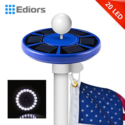 Ediors® Solar Flagpole Light Flag Pole Solar Lighting- Brightest, Most Powerful -20 LED Downlight Lights up Flags on Most 15 to 25 Ft Flag Pole Light Night Lighting (Blue (20 LED))