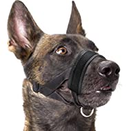 Dog Muzzle Nylon Soft Padding, Adjustable Loop, Black (L, Black)