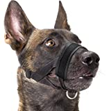 Dog Muzzle Nylon Soft Padding, Adjustable Loop, Black (L, Black)