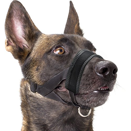 Adjustable Muzzle - Dog Muzzle Nylon Soft Padding, Adjustable Loop, Black (L, Black)