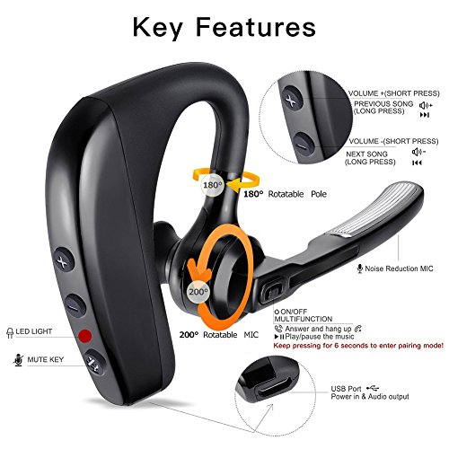 Bluetooth Headset, Wireless Bluetooth Earpiece with Mic Mute Switch Headset for Trucker Handsfree Earphone, V4.1 Bluetooth Headphones Compatible for Smart Phone (K10_Black) by ERUW (Image #4)