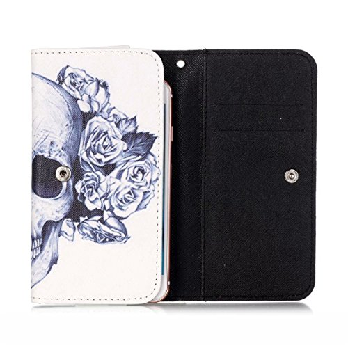 BLU Vivo 5 Case,[Skull Flower] Style Universal Smartphone Flip Wallet Clutch Bag Wristlet Carrying Leather Case for BLU Vivo 5 5.5 inch -  JiLee