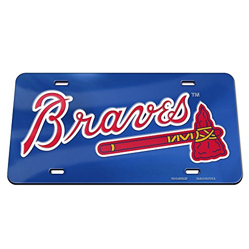 - ATLANTA BRAVES BLUE ACRYLIC MIRROR INLAID TOMAHAWK LICENSE PLATE