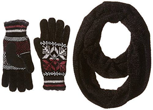 Isotoner Women's Chenille Scarf and Glove Gift Set, Black, One Size