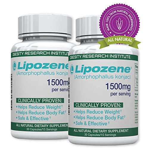 Lipozene Green Diet Pills - All Natural Weight Loss Supplement - Appetite Suppressant and Control - Two Bottles 60 Veggie Capsules - No Stimulants, No Jitters, No GMO