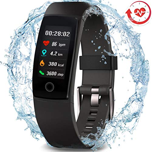 3 Heart Dangling - MorePro Waterproof Health Tracker, Fitness Tracker Color Screen Sport Smart Watch,Activity Tracker with Heart Rate Blood Pressure Calories Pedometer Sleep Monitor Call/SMS Remind for Women Men