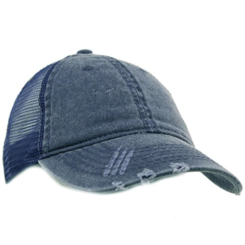 Unisex Distressed Low Profile Trucker Mesh Summer Baseball Sun Cap Hat Navy (Navy Blue Campus Hat)