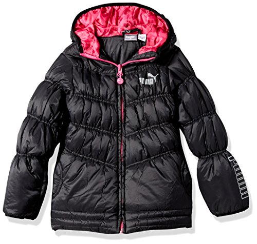 PUMA Little Girls' Quilted Puffer Jacket, Black, 6