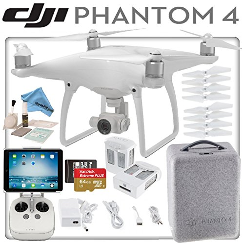 Price comparison product image DJI Phantom 4 Quadcopter w / Ready To Fly Bundle: Includes Apple iPad Mini 4 with Wi-Fi & Cellular,  2 Intelligent Flight Batteries,  SanDisk 64GB MicroSD Card and more...