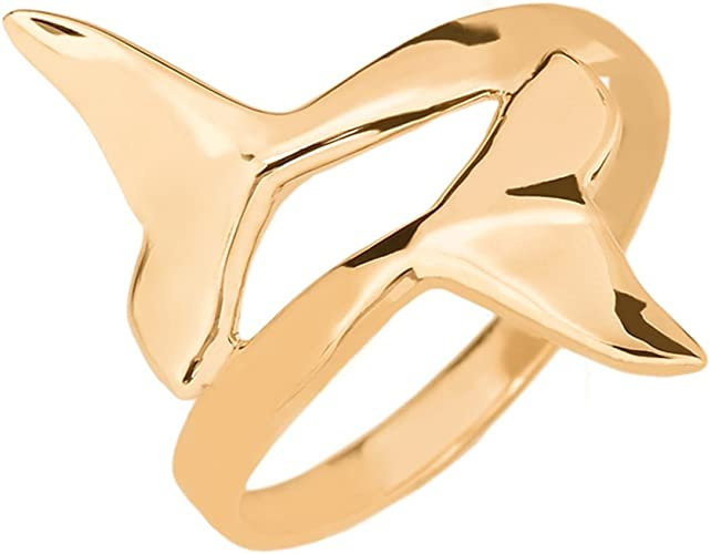 Fine 14k Yellow Gold Whale Tail Wrap Ring