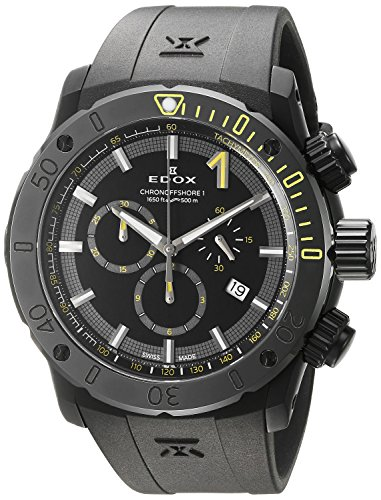 Edox Men's 'Chronoffshore-1' Swiss Quartz Stainless Steel and Rubber Diving Watch, Color:Black (Model: 10221 37N NINJ)