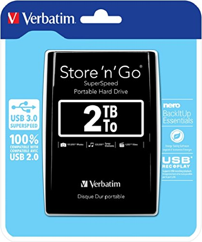 Verbatim 2TB Store 'n' Go Portable Hard Drive, USB 3.0 - Compatible with USB 2.0 - PC / Mac - Diamond Black by Verbatim (Image #7)