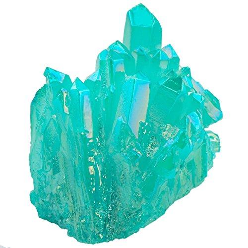 rockcloud Healing Crystal Natural Titanium Coated Lake Blue Rock Quartz Cluster Geode Druzy Home Decoration Gemstone Specimen