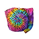 BTP! Tie Dye Sling Crossbody Shoulder Bag Purse Hippie Hobo Cotton Bohemian Colorful Firework (Random Spiral Dark Tone)