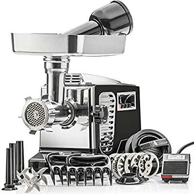 STX Turboforce II - Quad Air Cooling - Electric Meat Grinder & Sausage Stuffer – Foot Pedal Control, 6 Grinding Plates, 3 Cutting Blades, Kubbe & Sausage Stuffing Tubes